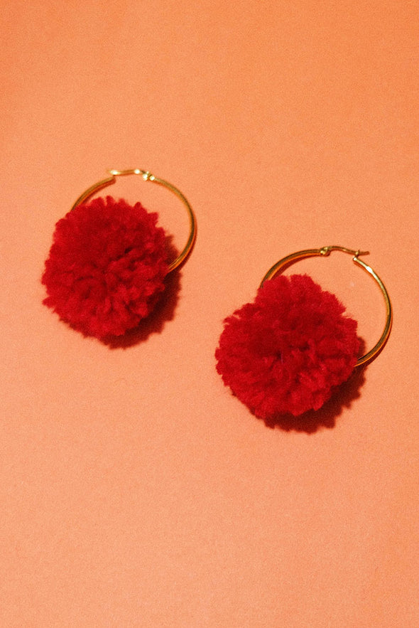 Pompom Earrings - Cherry