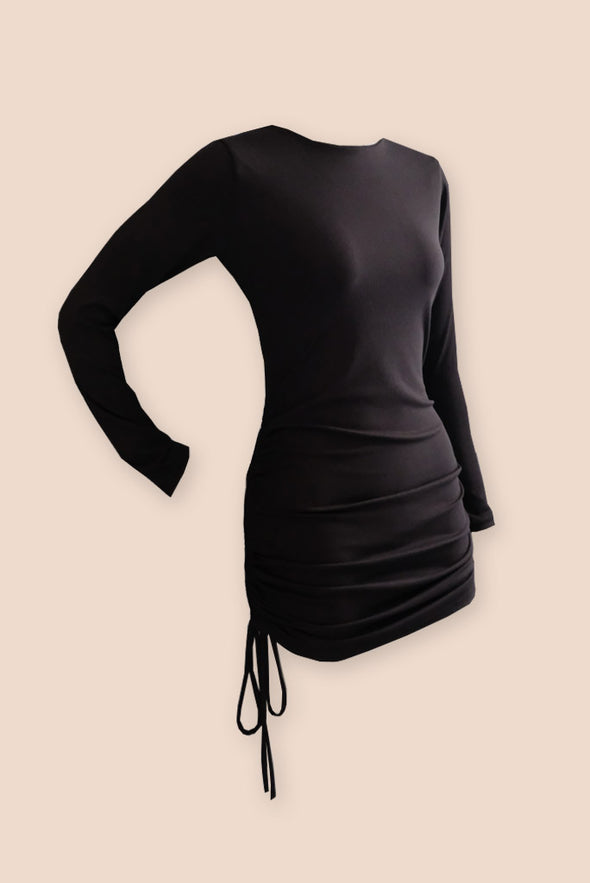Stunnin' Drawstring Dress - Black