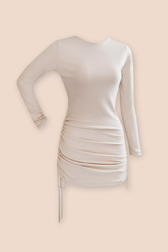 Stunnin' Drawstring Dress - Cream