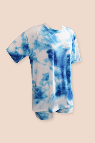 Heads Up Tie Dye Biker Set - Blue Sky