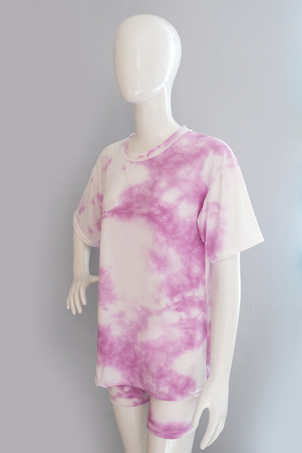 Heads Up Tie Dye Biker Set - Purple Marble