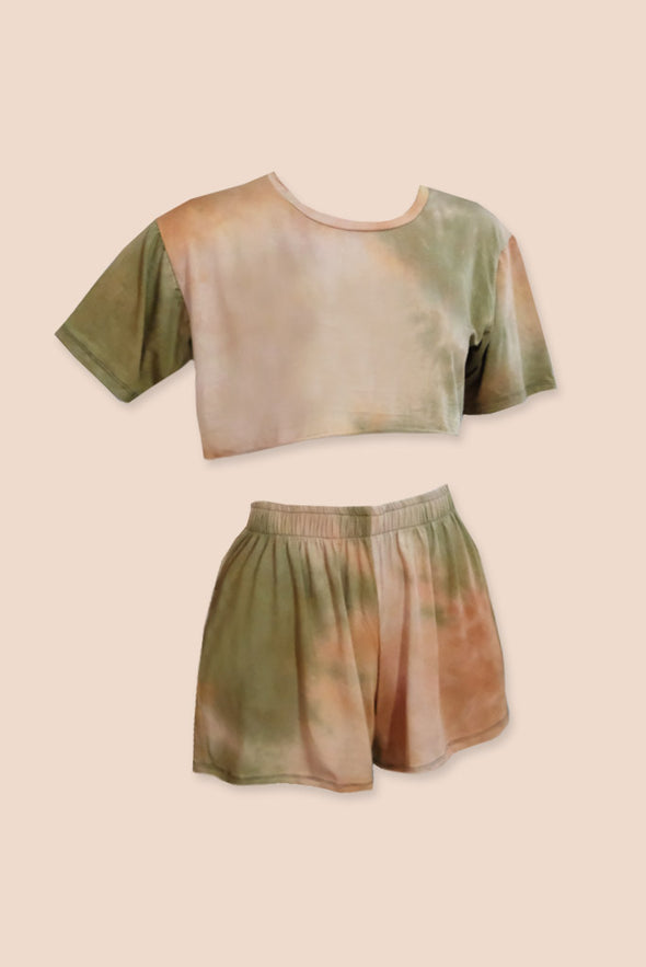 Daydreaming Lounge Set - Peachy Brown / Green