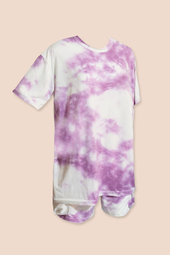 Slow Down Tie Dye Set - Cloud Purple