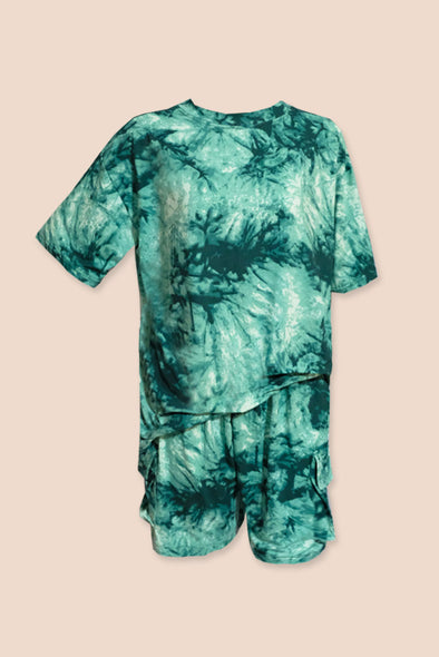 Slow Down Tie Dye Set - Sea Green