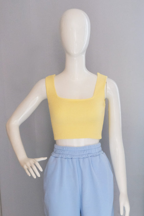 Gigi Knit Crop Top - Lemon