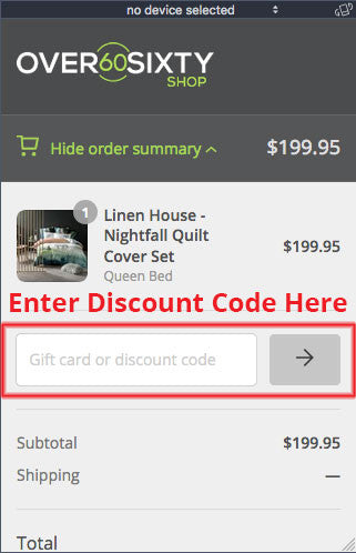 Show where discount code goes
