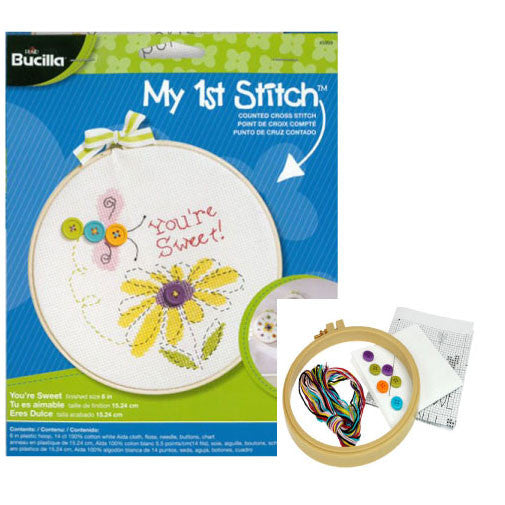 "Bucilla - My First Stitch Counted Cross Stitch Kits - 6"" Hoop Kit"