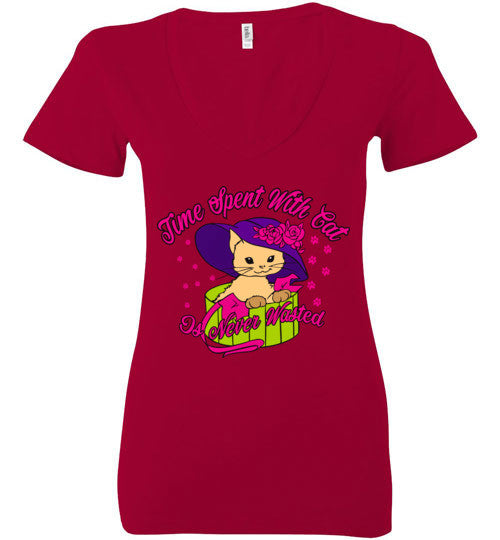 "Bella V-Neck ""Time Spent With Cat is never Wasted"" shirt"