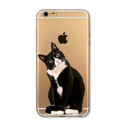 iPhone Silicon Transparent Covers with Cute Cats