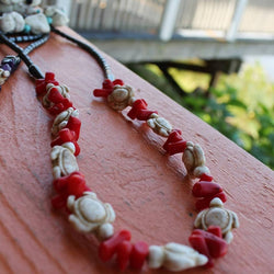 Turtles & Red Coral Necklace