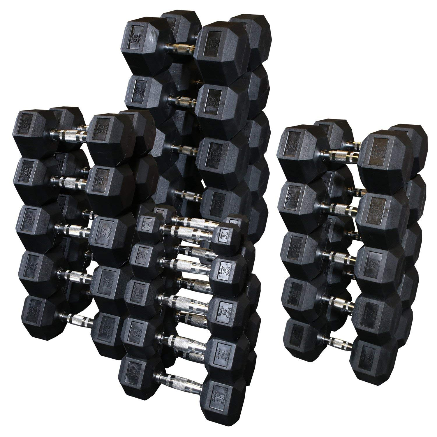 Commercial 5-100lb Rubber Hex Dumbbell Set with Contoured Handles