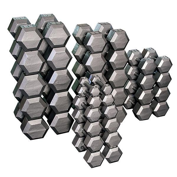 Commercial 5-100lbs Grey Steel Hex Dumbell Set
