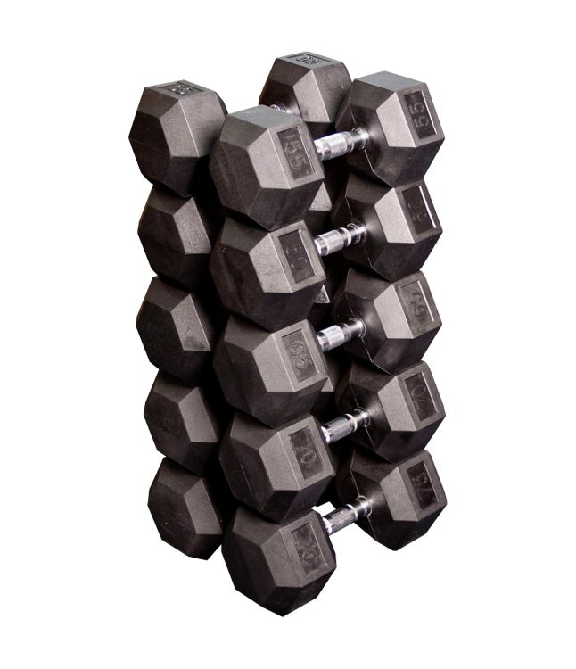 Commercial 55 - 75lb Rubber Hex Dumbbell Set