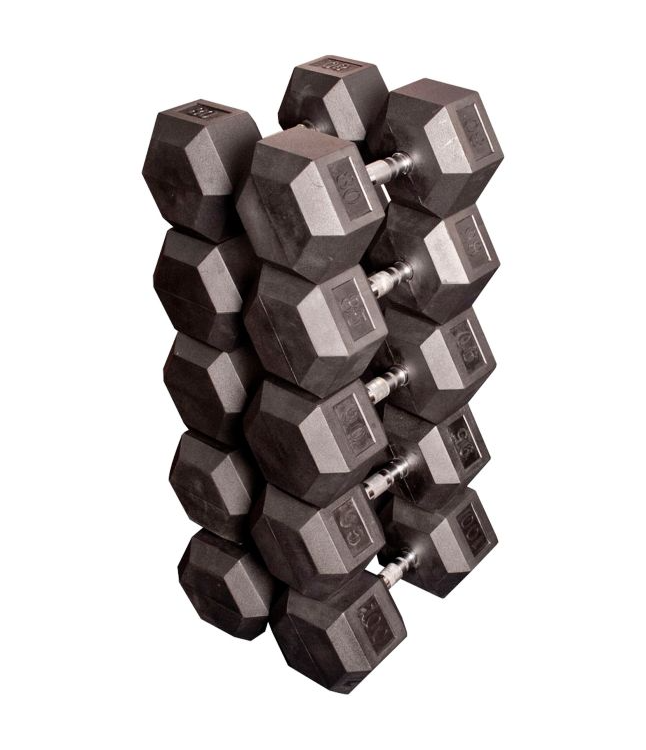 Commercial 80 - 100lb Rubber Hex Dumbbell Set