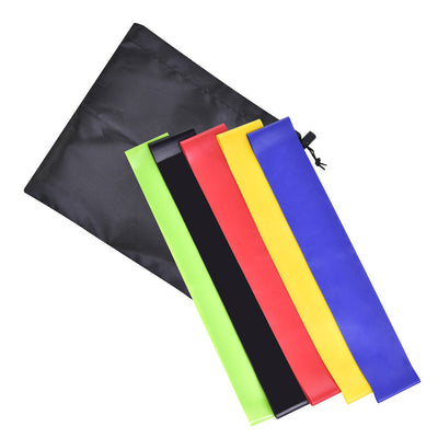 Premium Exercise Resistance Loop Bands - Set of 5 With Handy Carrying Bag