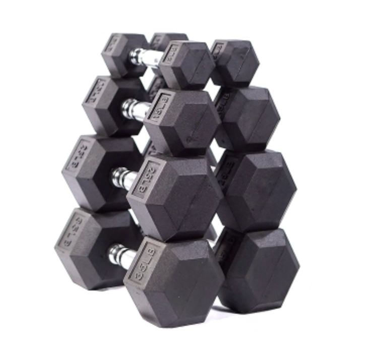 New 5-50 lbs Rubber Hex Dumbbell Set (Commercial Quality)