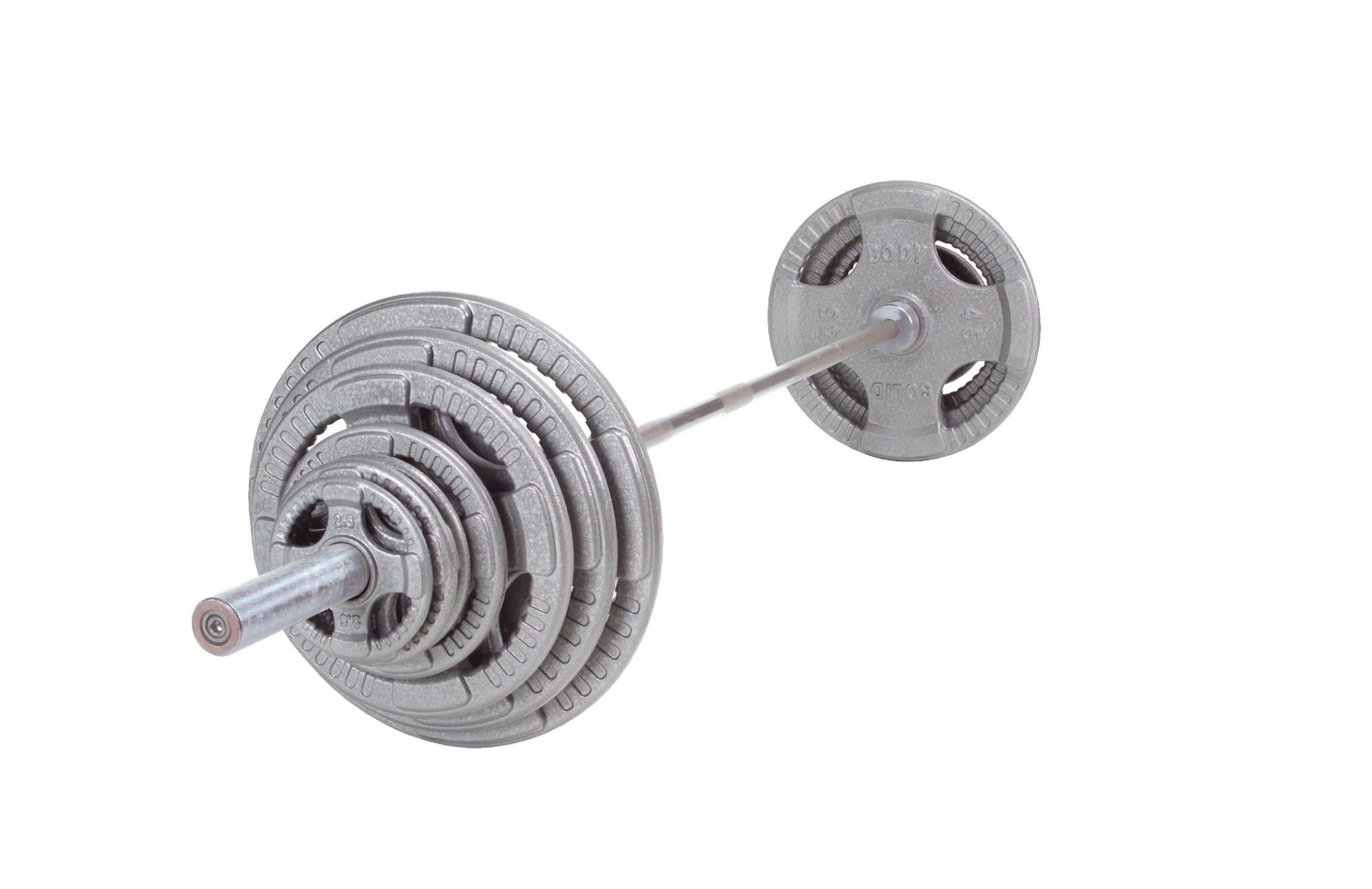 400lb Set - Body-Solid Olympic Steel Grip Weight Plate Set with Chrome Bar