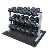 New Commercial Rubber Hex 5-50lb Dumbbell Package with Rack & Mat