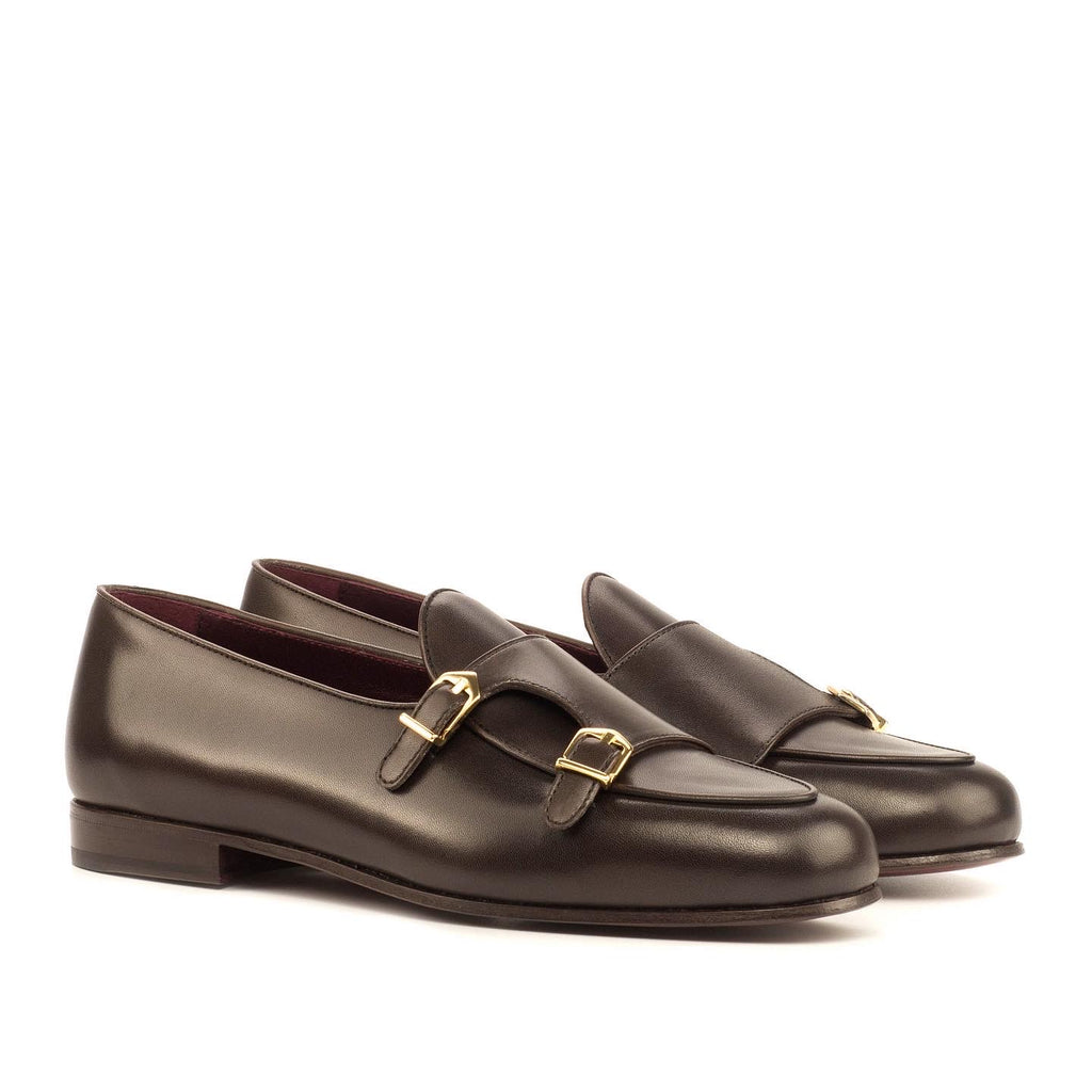 Calfskin Monk Strap Slippers Dark Brown Luxury Line