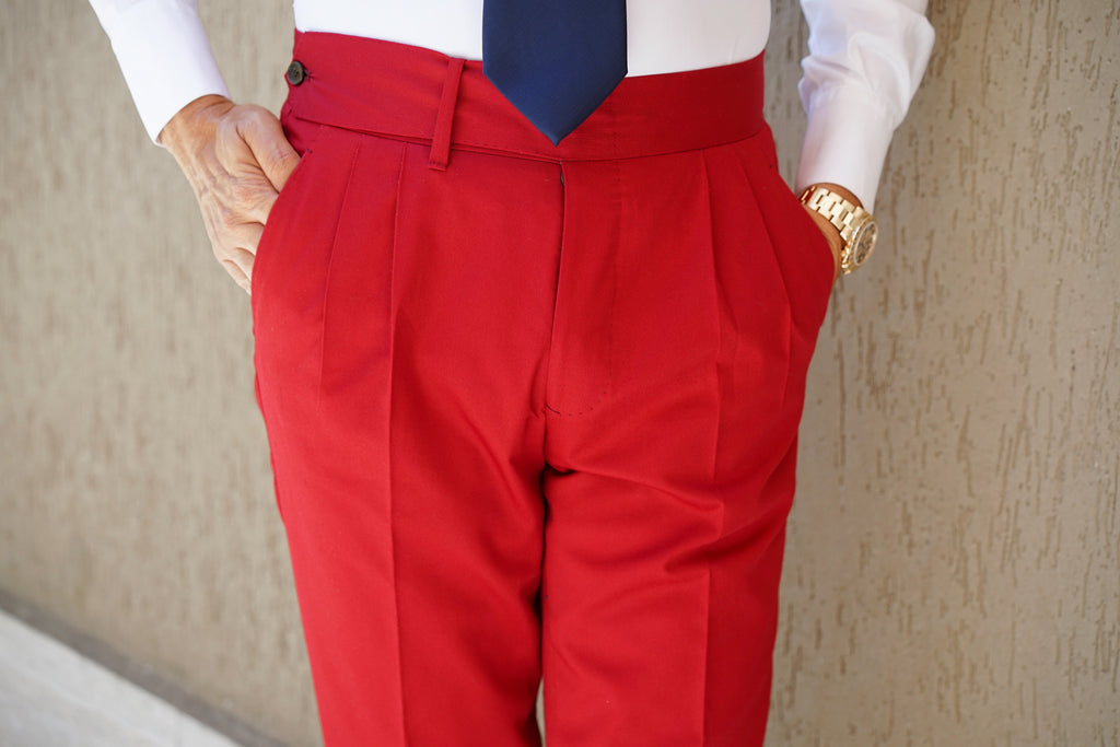 Red Cotton Trouser Premium Line
