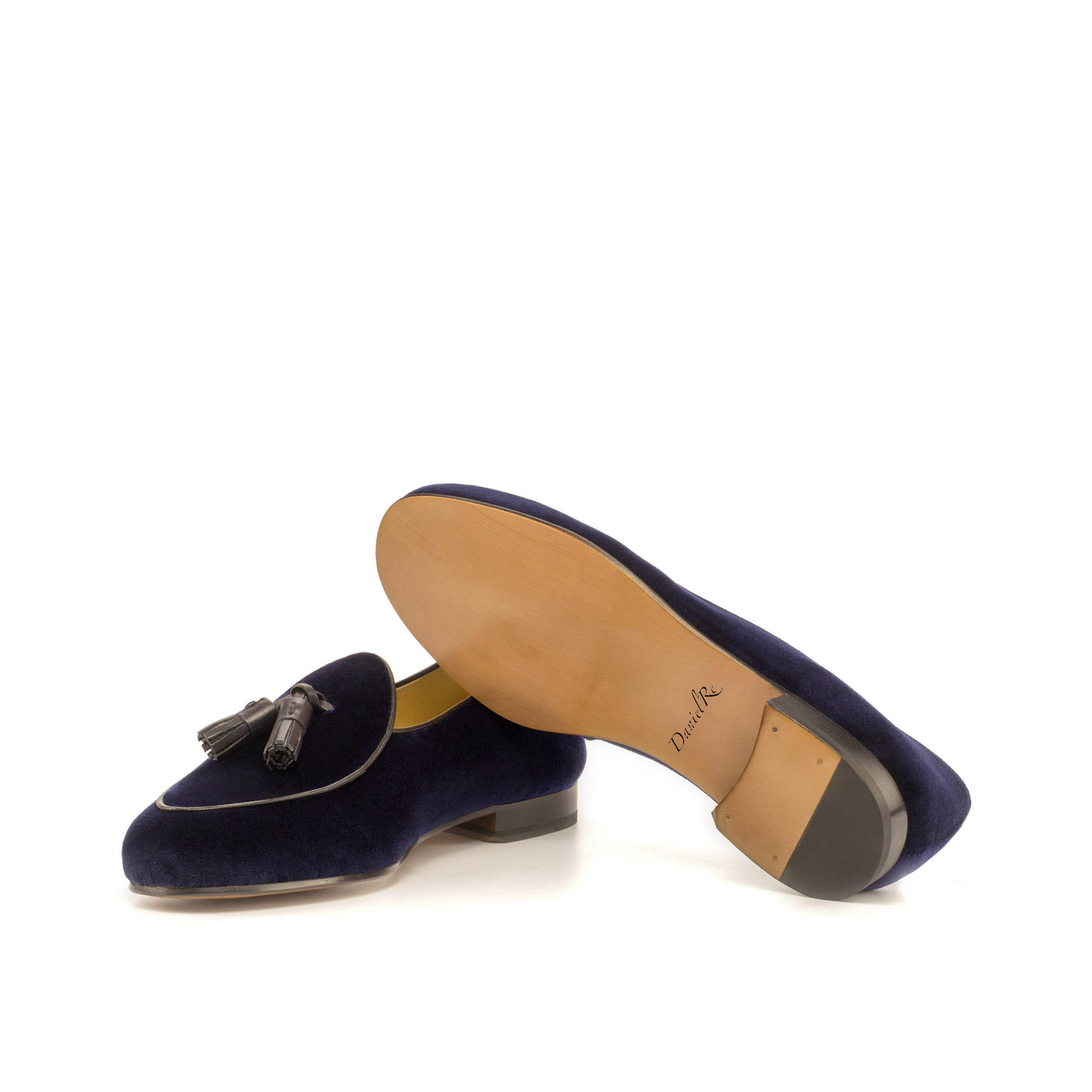 Velvet Belgian Loafers Navy Blue