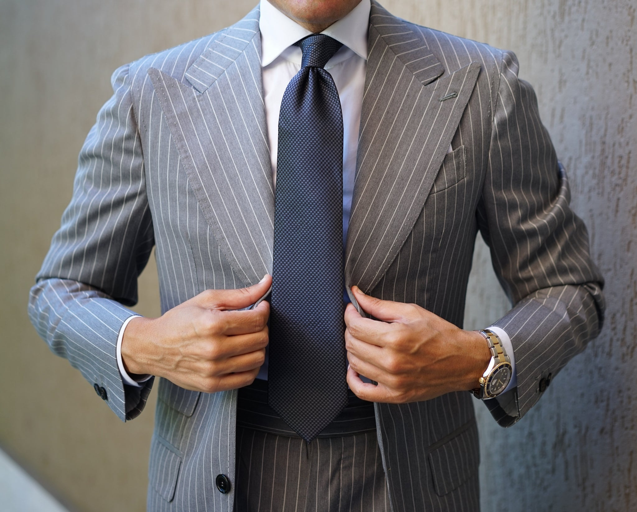 Manhattan Light Grey Pinstripe Suit Premium Line