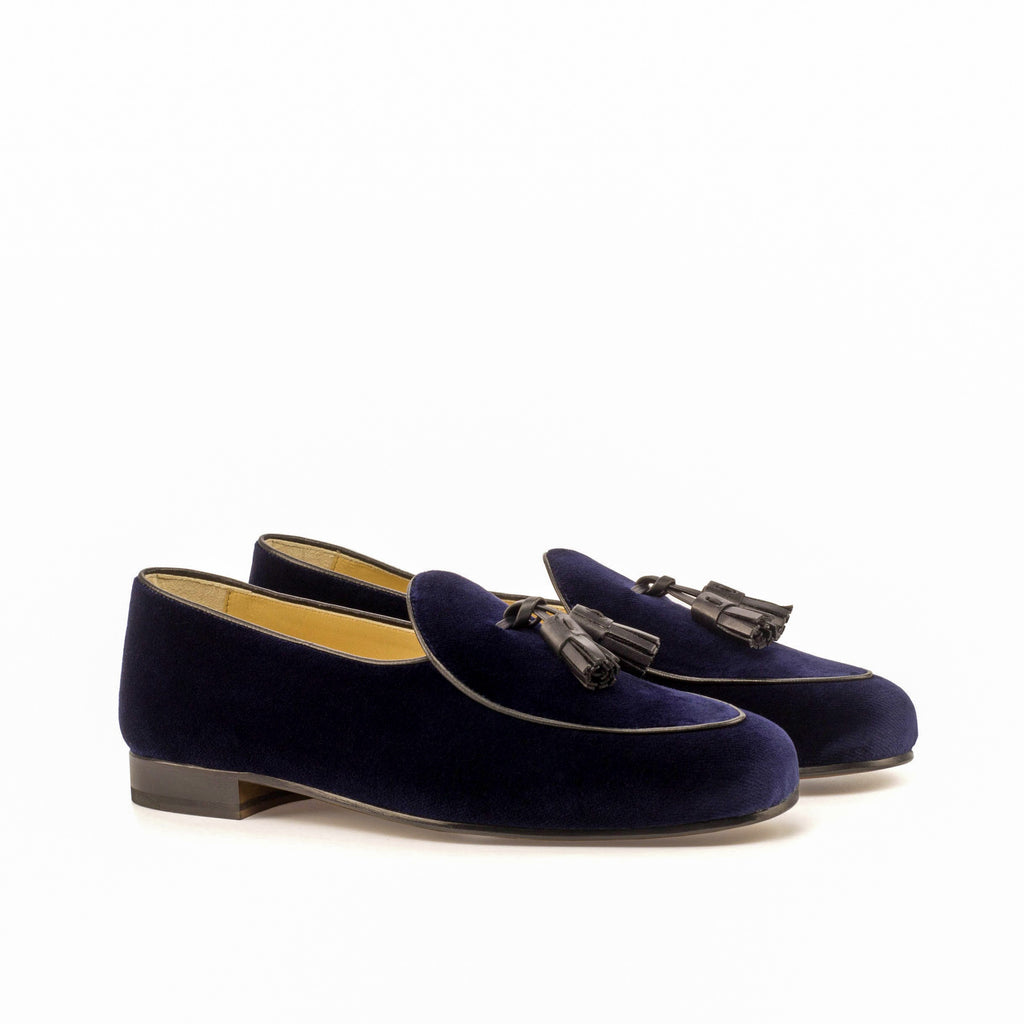 Velvet Belgian Loafers Navy Blue Luxury Line