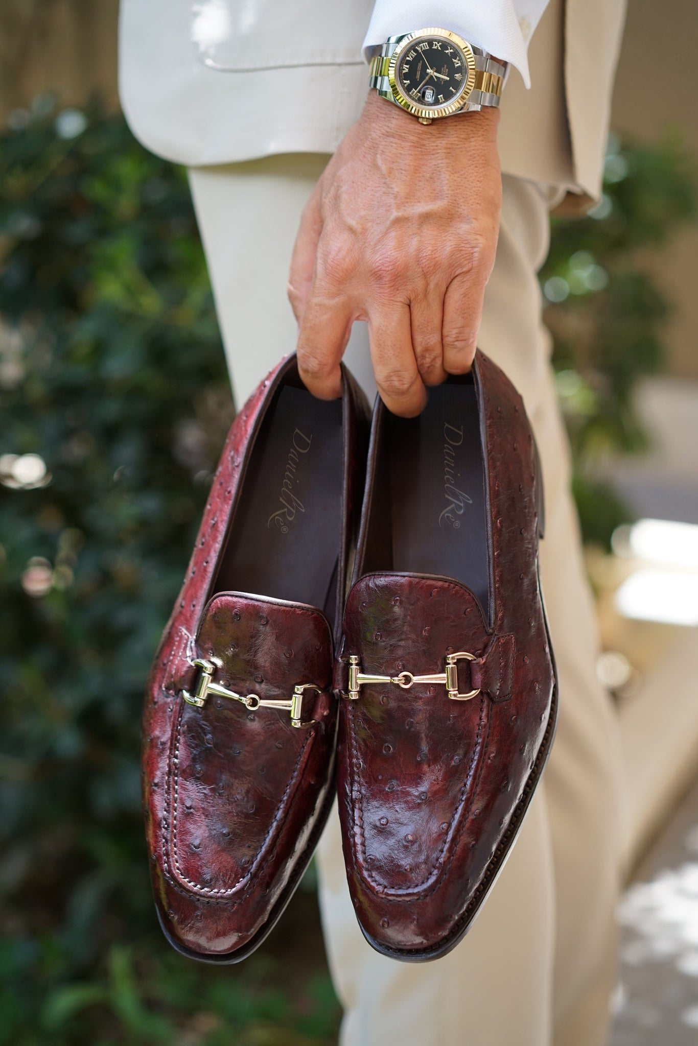 Genuine Ostrich Loafers Burgundy Luxury Line