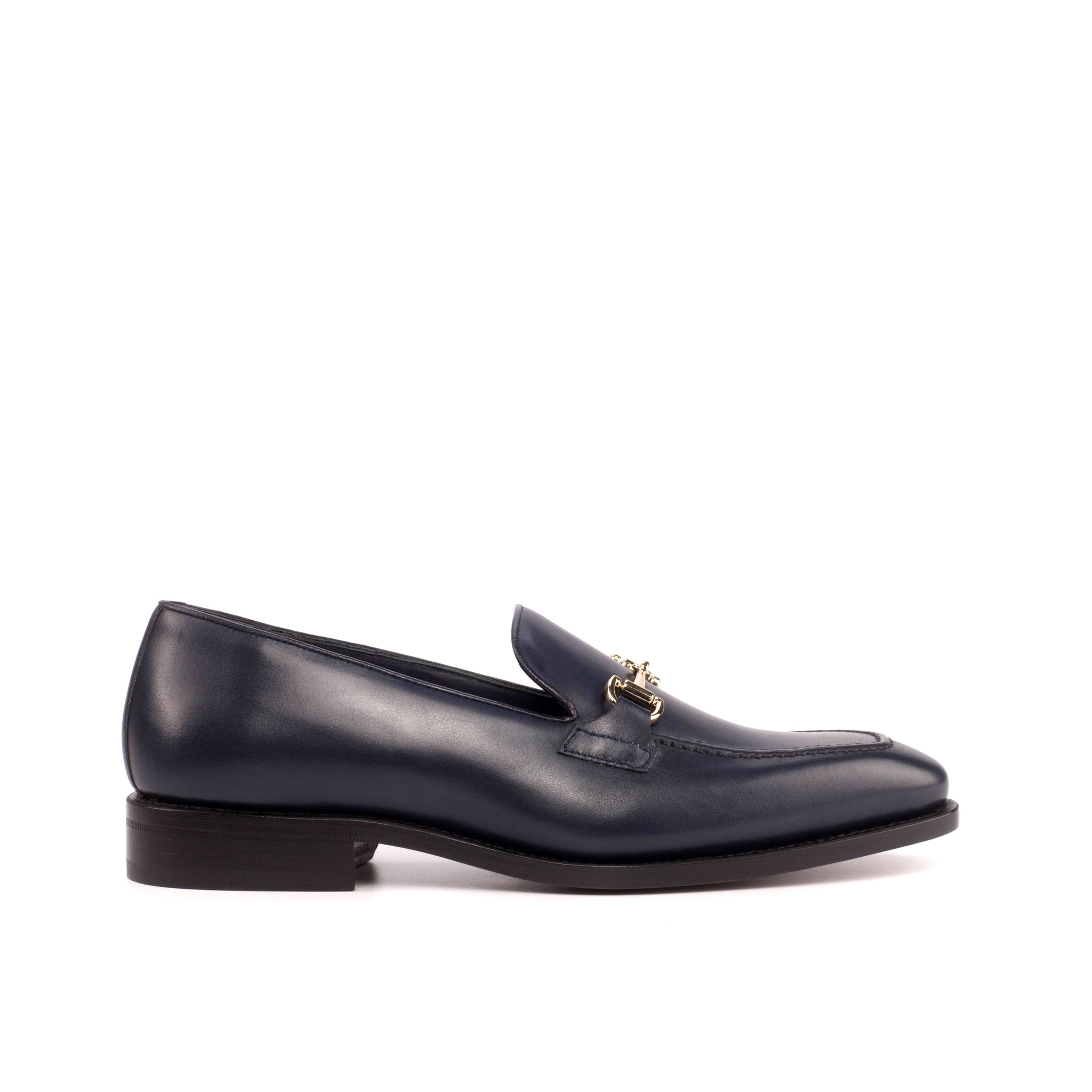 Calfskin Navy Blue Loafers Luxury Line