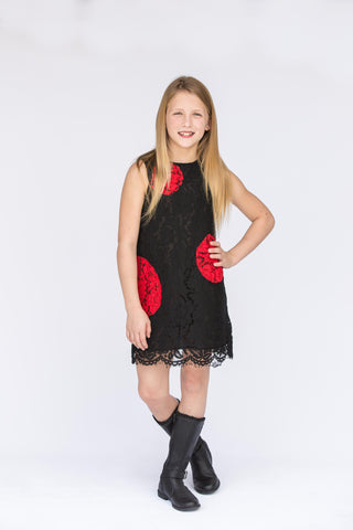Black With Red Dots Lace Dress