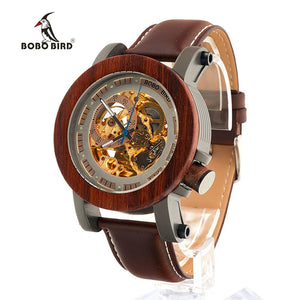 BOBO wood  Luxury Brand Men's Mechanical Watches  Genuine Leather Strap