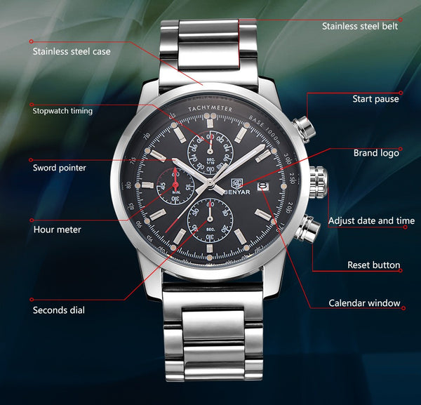 military  Watch Clock Relogio Masculino Water Resistance Depth: 3Bar