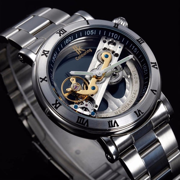 Tourbillon skeleton automatic men self wind