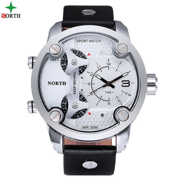 NORTH  Man Leather Military Army Waterproof Wrist Watch Sport Men
