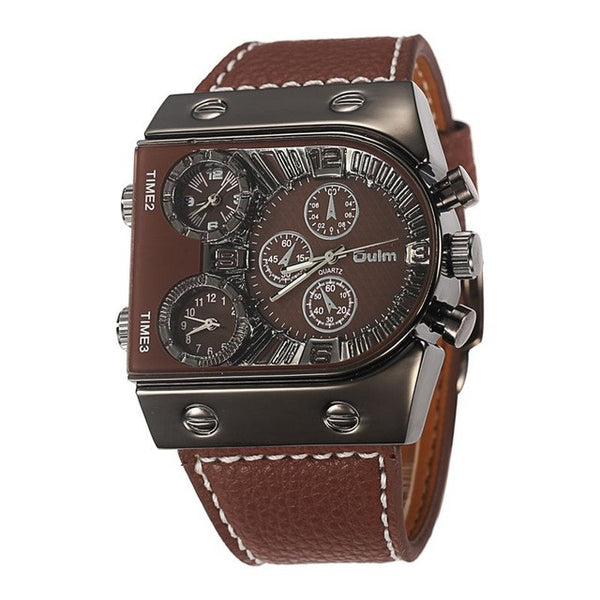 Military Clock Male Army Leather water resistance 3bar