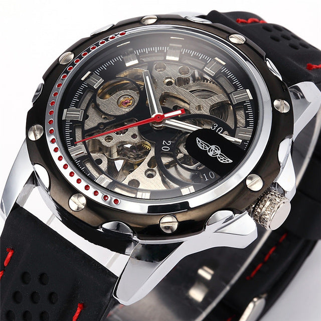 New Fashion Mechanical watches Skeleton Watches Rubber Strap