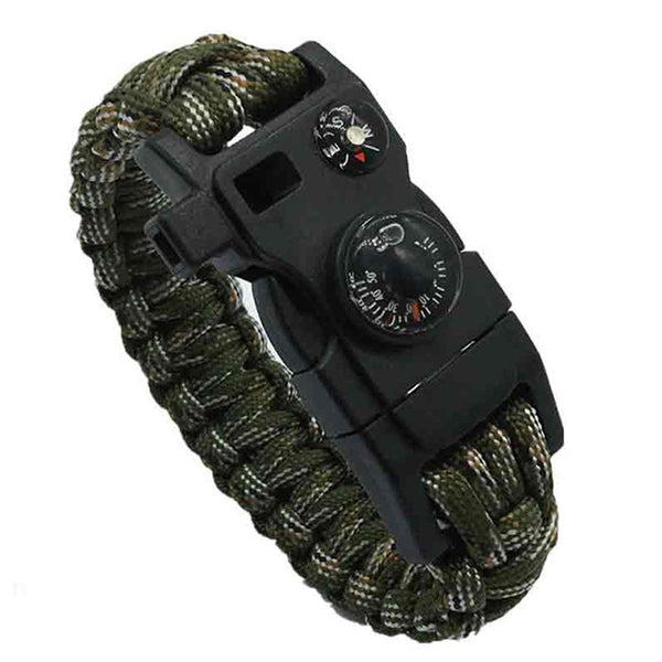 Survival Bracelet With Watch Compass Flint Fire Starter Scraper Whistle