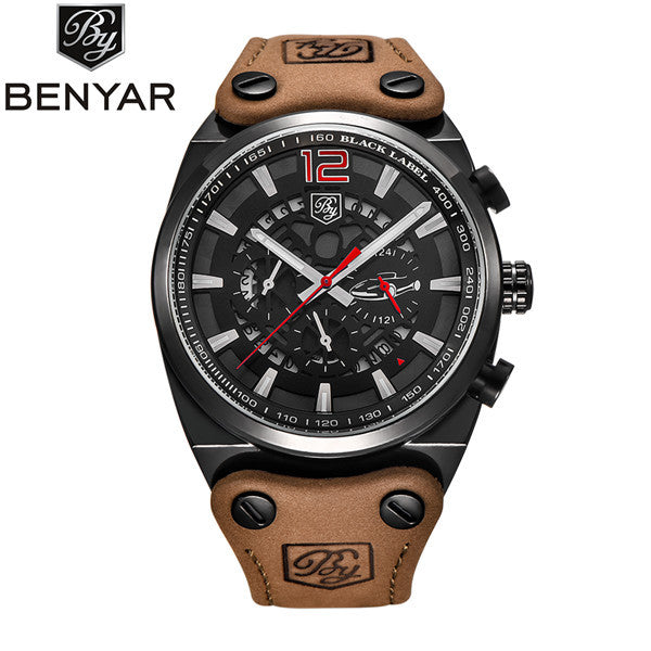 Luxury Survival Stainless Steel & Leather Army Sports Watch