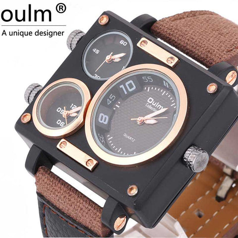 Watch with Square Shape 2 Dials Relogio