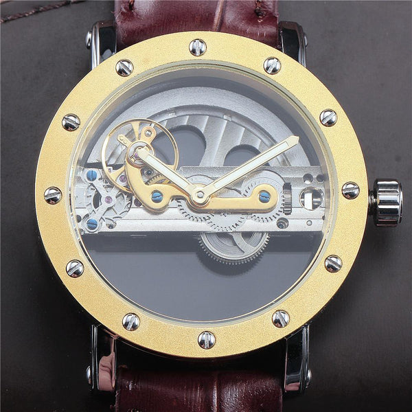 Skeleton Men Male Bridge Watches Leather Classic Military