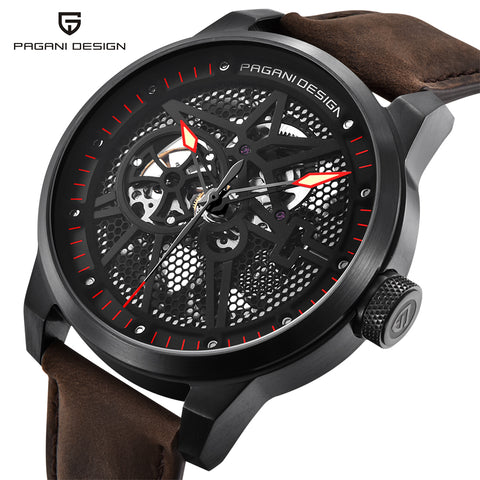 PAGANI DESIGN Men's Classic Skeleton Mechanical Watches Waterproof 30M