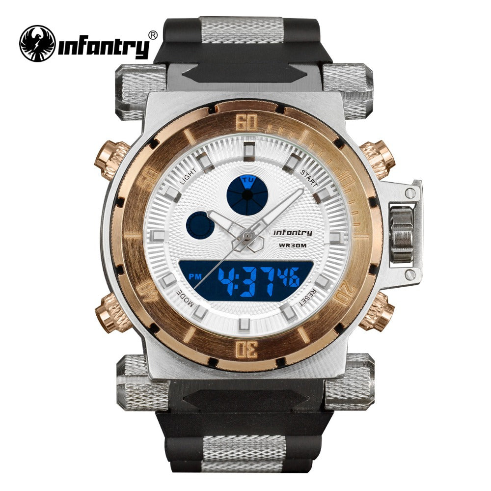 INFANTRY Golden Rubber Clock Sports Army Military Watches