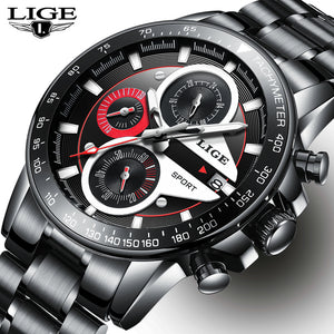 LIGE Mens Watches Luxury Fashion