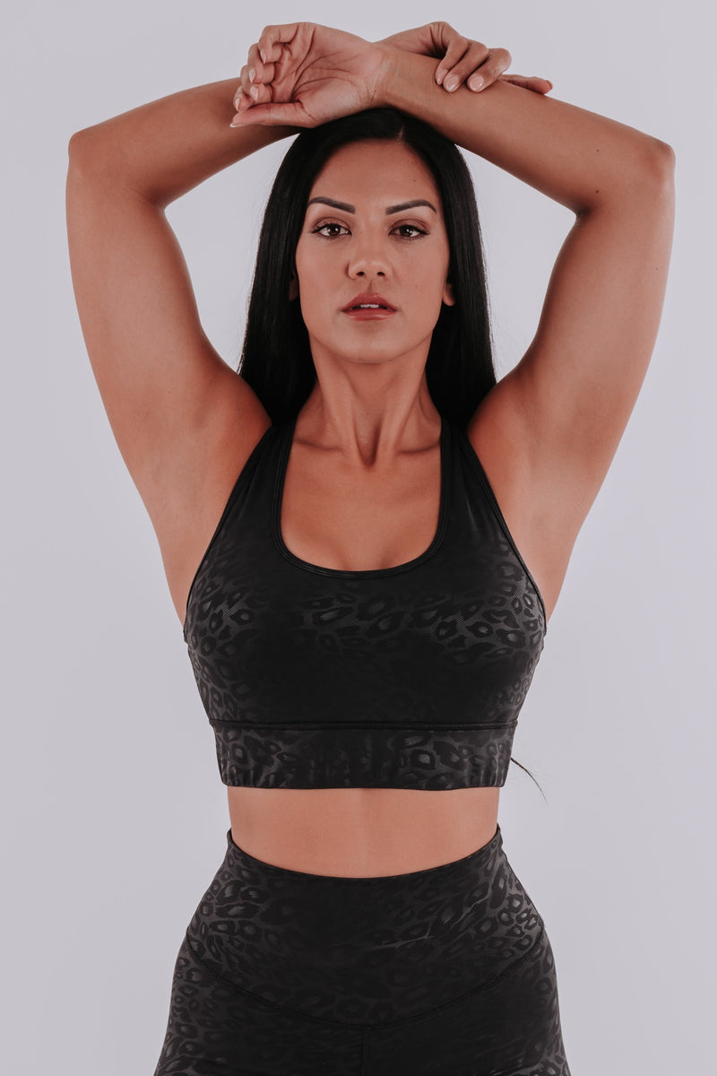 LEOPARD BLACK SPORTS BRA