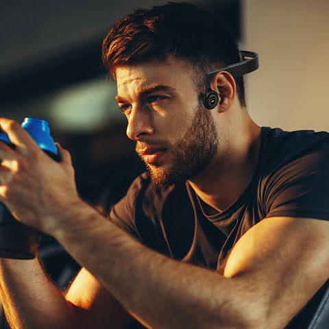 Bone Conduction Headphones Man at Gym