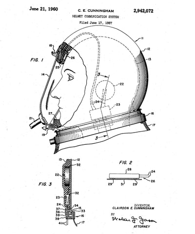 Clairdon Cunningham Bone Conduction Helmet Communication System Patent 6-21-1960