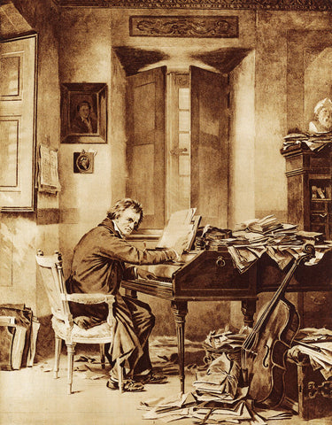 Composer Ludwig van Beethoven at work in his music studio, circa 1820