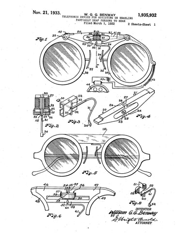 Telephonic device for assisting partially deaf persons to hear Patent Drawing 1 1932