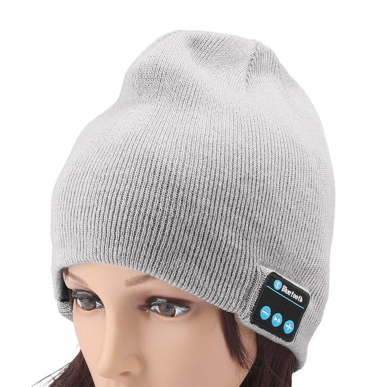 Knit Winter Sports Hat Bluetooth Wireless Earphones Built in Stereo Answer Calls for iPhone Samsung