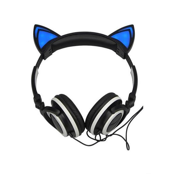 Cat Ear Headphones Foldable Flashing Glowing Gaming Headset LED Light